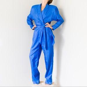 Vintage 80s Blue Jumpsuit Romper Catsuit Pantsuit